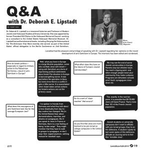 Q&A with Dr. Deborah E. Lipstadt